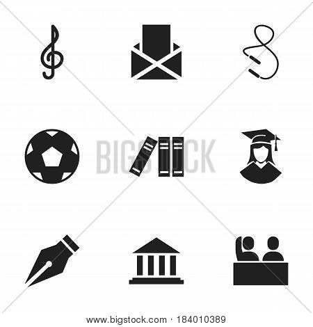 Set Of 9 Editable Science Icons. Includes Symbols Such As Graduated Female, Propeller, Museum And More. Can Be Used For Web, Mobile, UI And Infographic Design.