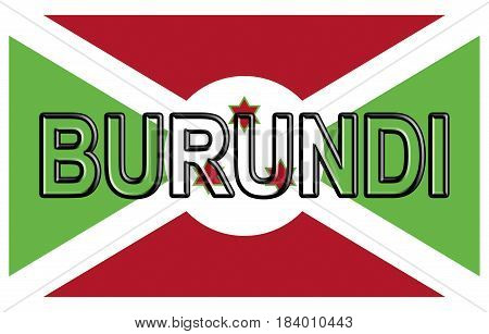 Illustration of the flag of Burundi with the country written on the flag.
