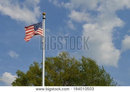 American flag waving in the breeze in front of blue sky and green tree.