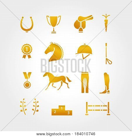 Horse Equipment Icon Set Gold Thin Line