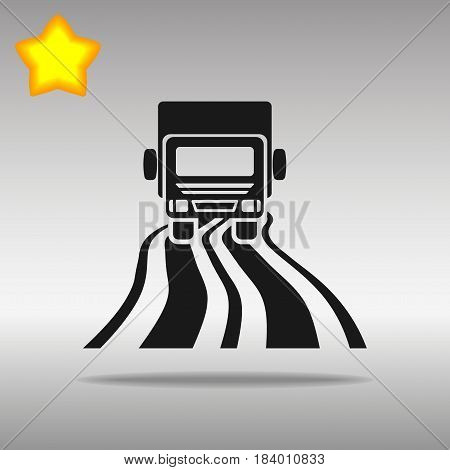 black truck on the road Icon button logo symbol concept high quality on the gray background