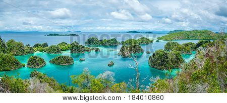 Pianemo Islands, Blue Lagoon with Green Rockes, Raja Ampat, West Papua. Indonesia
