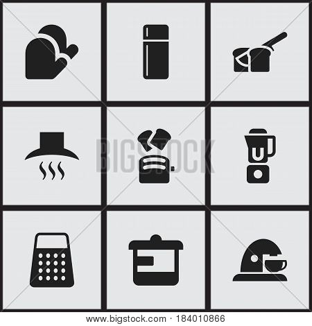 Set Of 9 Editable Cook Icons. Includes Symbols Such As Slice Bread, Refrigerator, Shredder And More. Can Be Used For Web, Mobile, UI And Infographic Design.