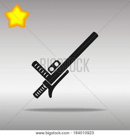 black police baton or nightstick Icon button logo symbol concept high quality on the gray background