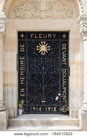 VERDUN FRANCE - AUGUST 19 2016: Cast iron entrance memorial chapel at the former place of the French village Fleury which was completely destroyed during First World War One
