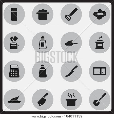Set Of 16 Editable Food Icons. Includes Symbols Such As Sideboard, Mocha Grinder, Husker And More. Can Be Used For Web, Mobile, UI And Infographic Design.