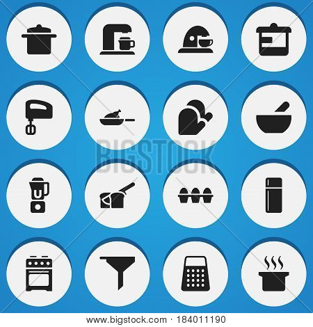 Set Of 16 Editable Food Icons. Includes Symbols Such As Refrigerator, Soup Pot, Kitchen Glove And More. Can Be Used For Web, Mobile, UI And Infographic Design.