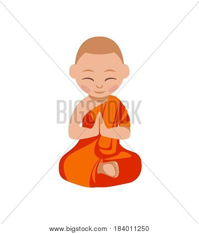 Little boy buddhist monk in the orange robe praying. Vector flat illustration. Lotus position.
