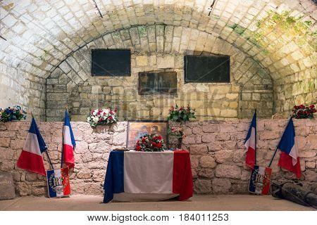 VERDUN FRANCE - AUGUST 19 2016: Memorial room fort Douaumont. Battlefield of First World War One.
