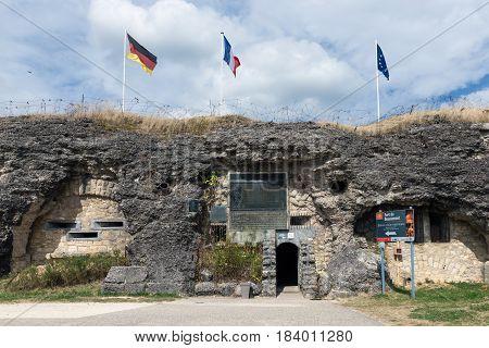VERDUN FRANCE - AUGUST 19 2016: Visitor entrance fort Douaumont. Battlefield of First World War One.