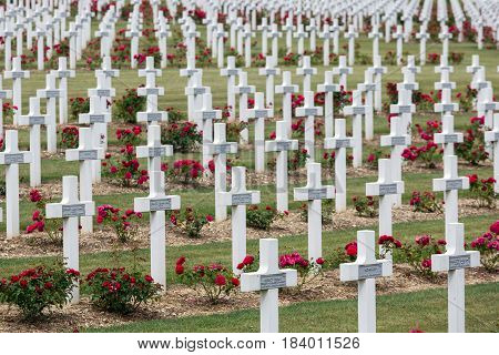 VERDUN FRANCE - AUGUST 19 2016: Cemetery for First World War One soldiers who died at Battle of Verdun