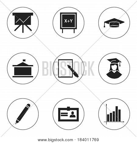 Set Of 9 Editable Science Icons. Includes Symbols Such As Blackboard, Univercity, Graduate And More. Can Be Used For Web, Mobile, UI And Infographic Design.