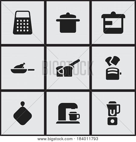 Set Of 9 Editable Meal Icons. Includes Symbols Such As Pot-Holder, Utensil, Bakery And More. Can Be Used For Web, Mobile, UI And Infographic Design.