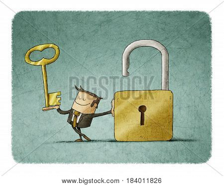 Businessman with a key in a hand and an opend padlock. It is a metaphor to find a solution or a security metaphor.