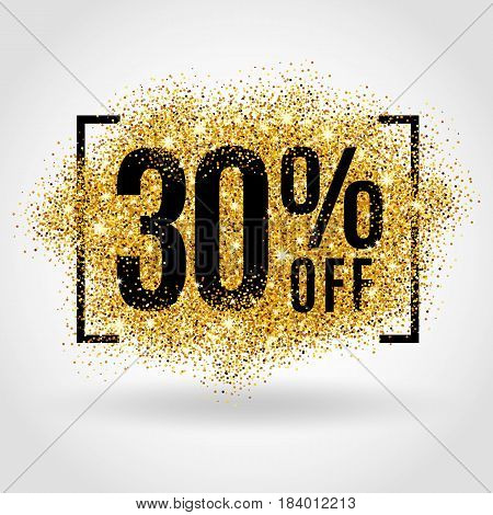 Gold sale 30 percent on gold background. Gold sale background for flyer, poster, shopping, for sale sign, discount, marketing selling, banner web header. Gold blur background