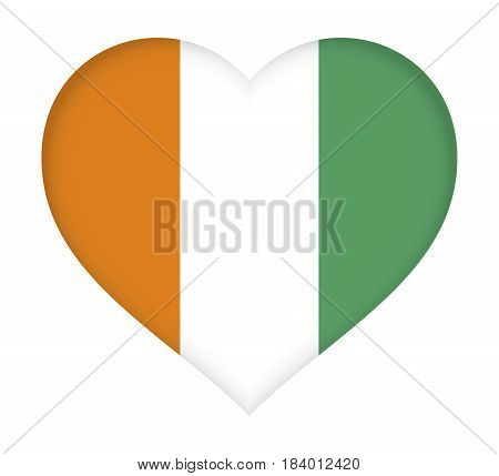 Illustration of the flag of Cote d'Ivoire shaped like a heart.