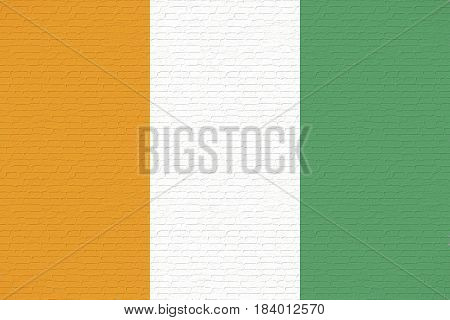 Illustration of the national flag of Cote d'Ivoire looking like it is painted on a wall.