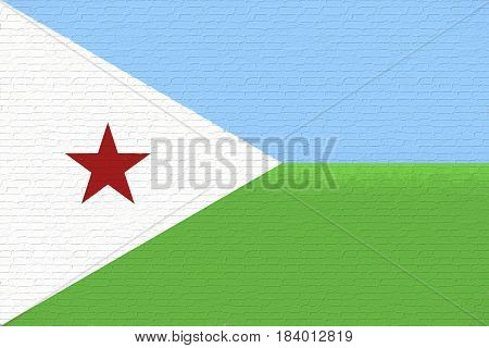 Illustration of the national flag of Djibouti looking like it is painted on a wall.