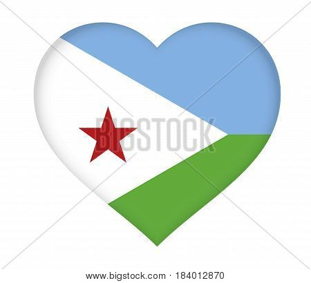 Illustration of the flag of Djibouti shaped like a heart.