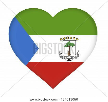 Illustration of the flag of Equatorial Guinea shaped like a heart.