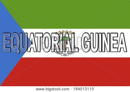 Illustration of the national flag of Equatorial Guinea with the country written on the flag.