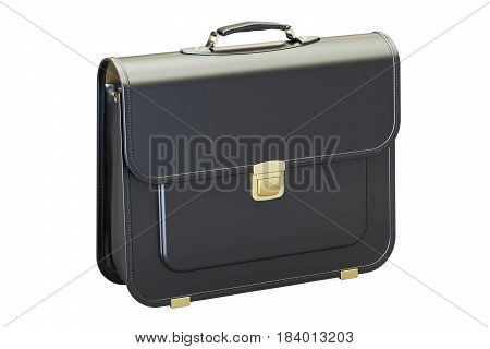 Black leather briefcase 3D rendering isolated on white background