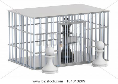 cage prison cell with chess king. 3D rendering