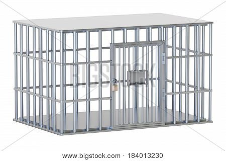 empty steel cage prison cell. 3D rendering isolated on white background