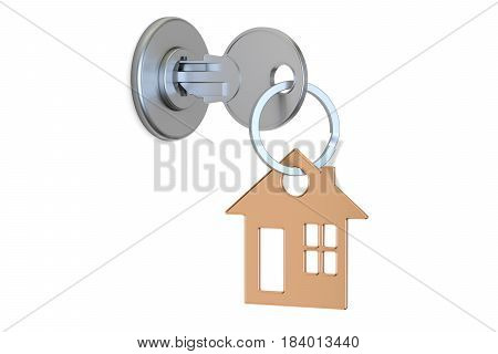 House key with keychain in the lock 3D rendering isolated on white background