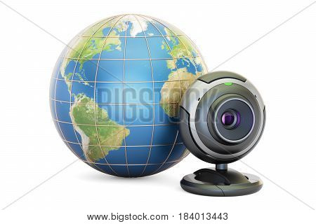Internet communication concept Earth globe with webcam. 3D rendering