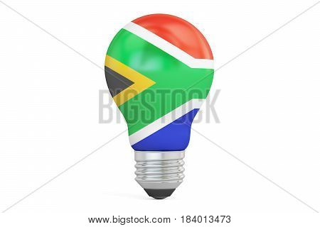 Light bulb with South Africa flag 3D rendering isolated on white background