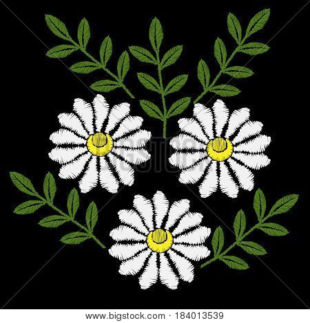 White Chamomile flower embroidery stitches imitation. Chamomiles embroidery vector. Beautiful spring flowers on black background. Template for clothes textiles t-shirt design