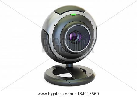 Webcam closeup 3D rendering isolated on white background