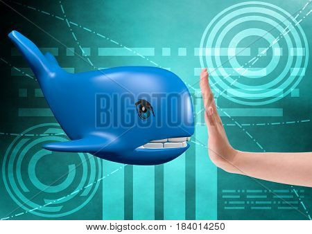 No to blue whale challenge, 3D rendering
