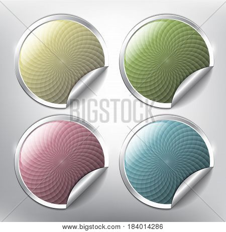 Set of 4 color modernly designed sale stickers with circular ornament and curled corner on the white background. Each item contains space for own text. Vector illustration. Eps10.
