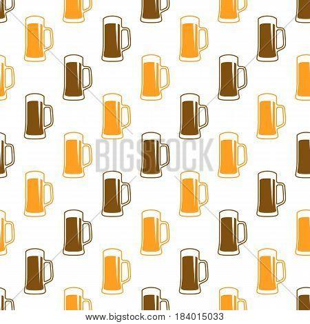 Vector seamless beer pattern. Drink mug background