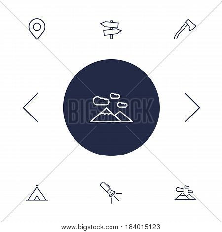 Set Of 6 Outdoor Outline Icons Set.Collection Of Guidepost, Ax, Shelter And Other Elements.