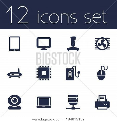 Set Of 12 Notebook Icons Set.Collection Of Peripheral, Palmtop, Joystick And Other Elements.