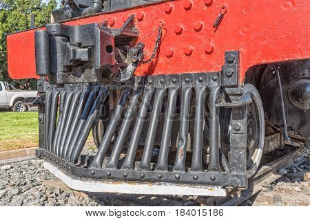 ASHTON SOUTH AFRICA - MARCH 26 2017: The coupler and deflector of a class CRB steam engine at Platform 62 a road stall in Ashton a town on the scenic Route 62 in the Western Cape Province