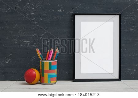 Empty Frame For Inscription On The Shelf