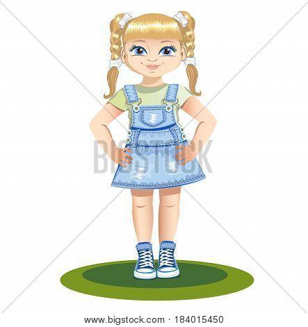 Cute little girl in denim sundress. Vector illustration.
