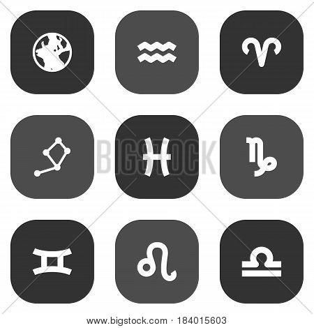 Set Of 9 Astronomy Icons Set.Collection Of Earth Planet, Water Bearer, Fishes And Other Elements.