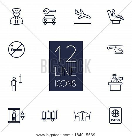 Set Of 12 Aircraft Outline Icons Set.Collection Of Elevator, Helicopter, Certification And Other Elements.