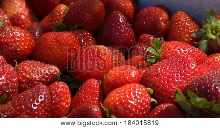 Strawberries for sale at local outdoor market place.
