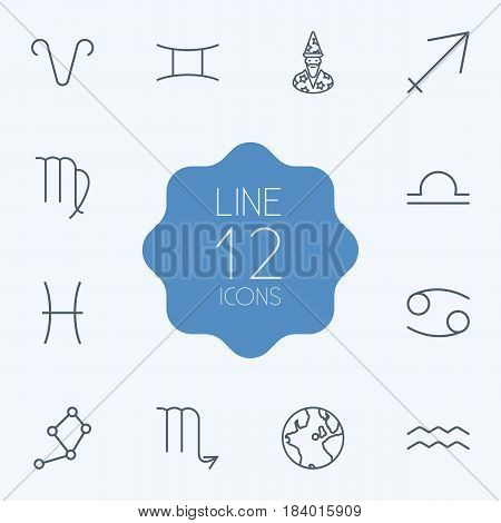 Set Of 12 Astrology Outline Icons Set.Collection Of Globe, Constellation, Aqurius And Other Elements.