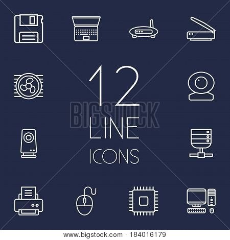 Set Of 12 Notebook Outline Icons Set.Collection Of Cooler, Scanner, PC And Other Elements.