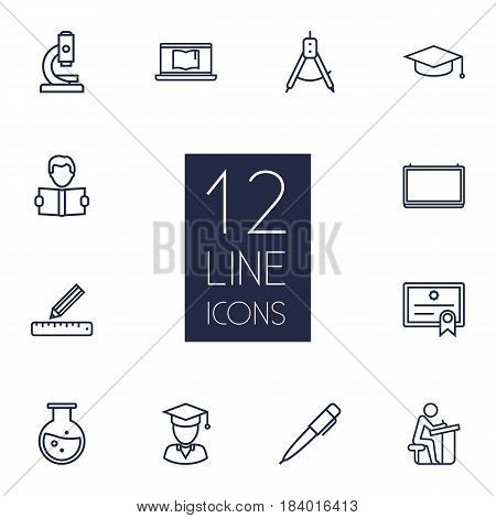 Set Of 12 Education Outline Icons Set.Collection Of Laptop, Learning, Pupil And Other Elements.
