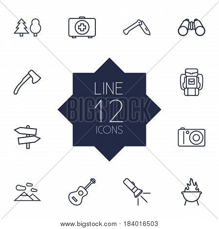 Set Of 12 Adventure Outline Icons Set.Collection Of Photographing, Guidepost, Medical Kit And Other Elements.