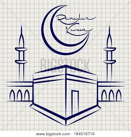 Ramadan kareem mosque on notebook page. Vector ballpoint pen sketch of mosque
