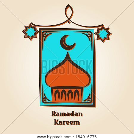 Ramadan Kareem logo design. Vector arabic lamp and mosque emblem
